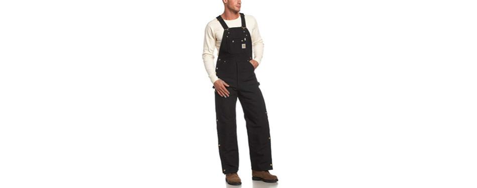 carhartt men's quilt lined zip to thigh bib overalls