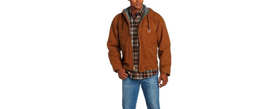 carhartt men's sherpa lined sandstone sierra winter jacket