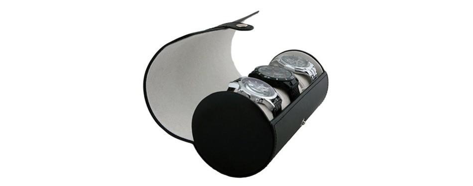 case elegance vegan leather travel watch roll case