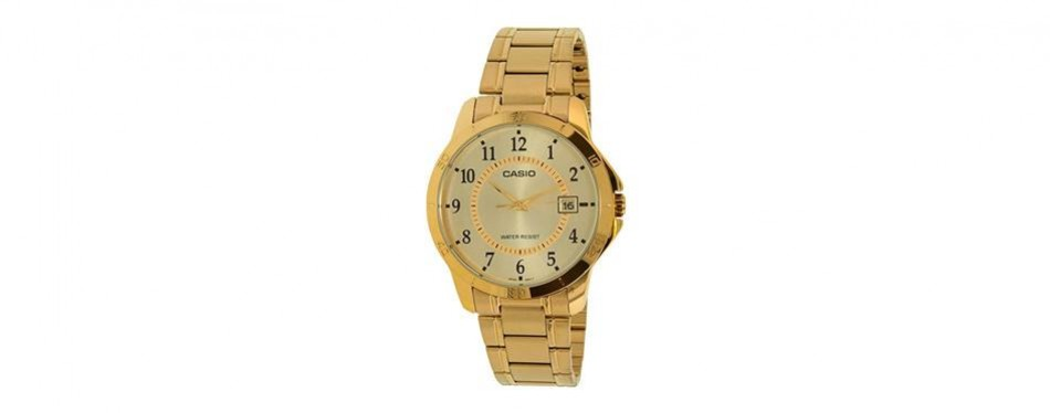 7e2c99baa0ec casio  mtp-v004g-9b men s standard gold tone stainless steel gold dial date