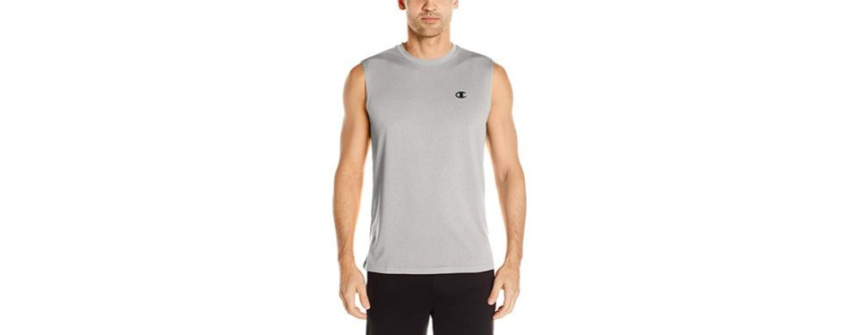 champion men's double dry heather muscle t-shirt