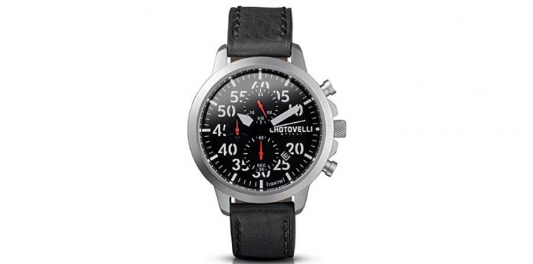 Chotovelli Italian Aviation Watch in Black Leather