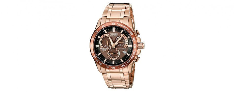 citizen men's eco-drive perpetual chrono rose gold watch