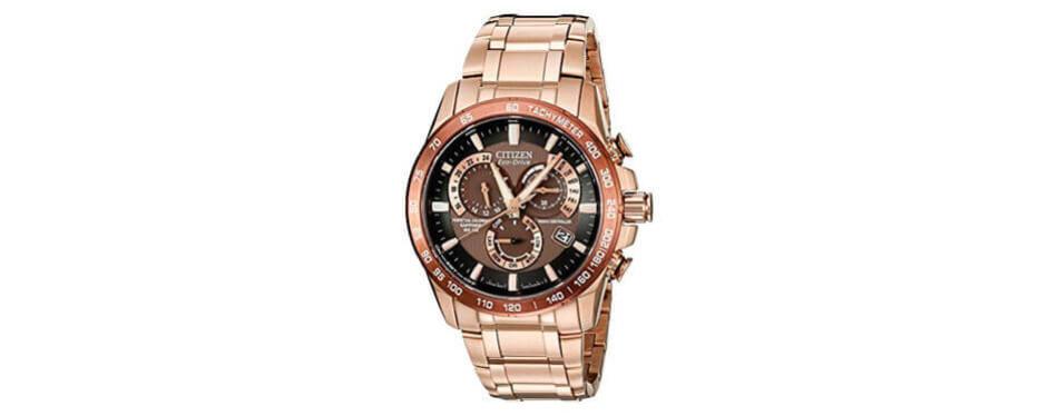 citizen men's eco-drive perpetual chrono rose gold watch