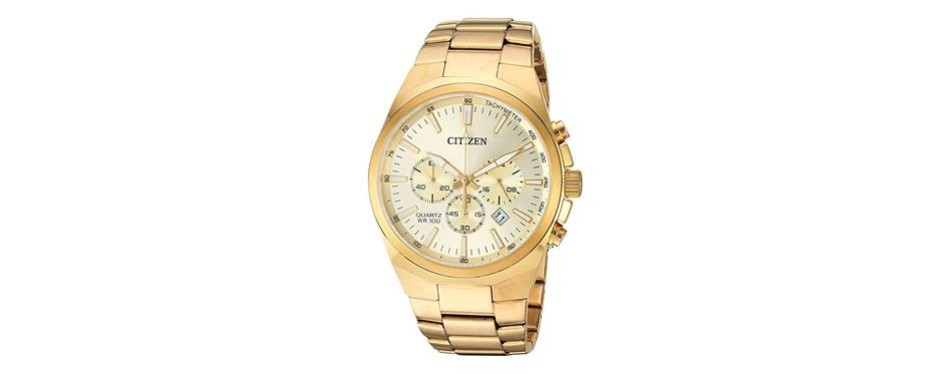 citizen men's ' quartz stainless steel casual watch, color gold-toned