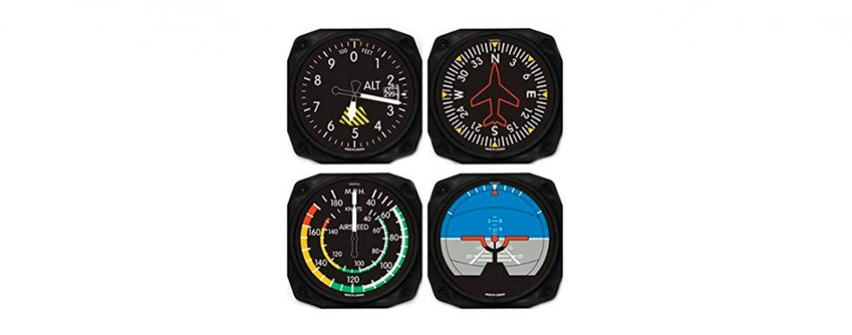 classic airplane instrument coasters set of 4