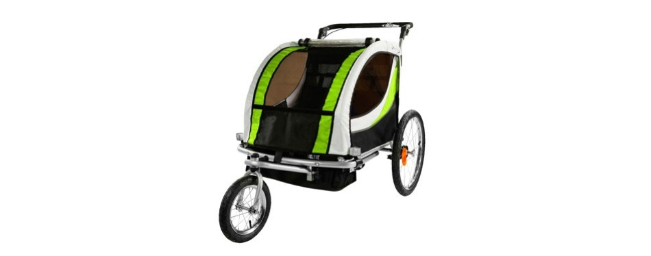 clevr 3-in-1 collapsible 2 seat double bicycle trailer baby bike jogger