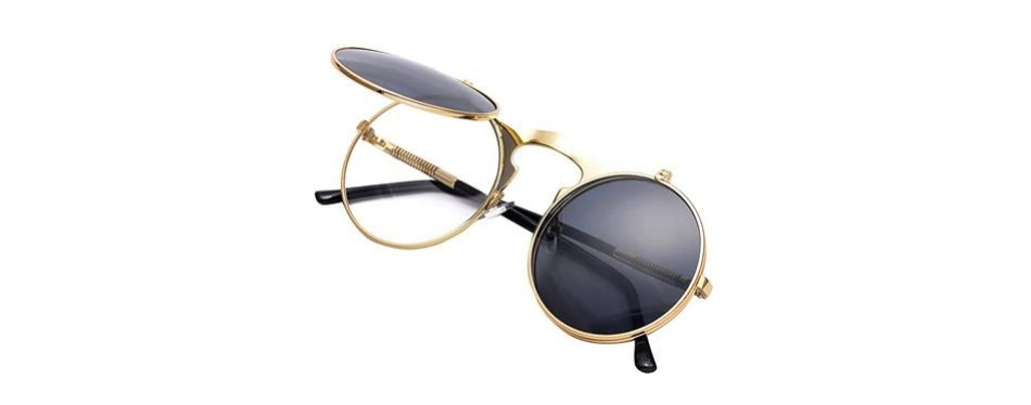 coasion vintage round flip up sunglasses