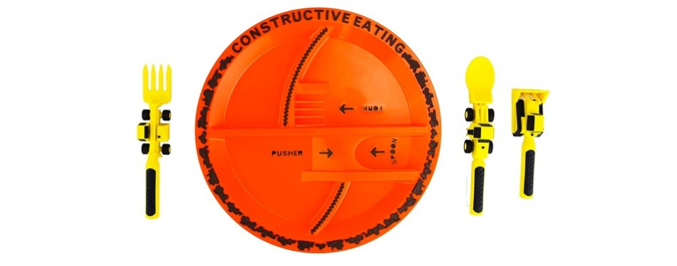 constructive eating construction plate and utensil set