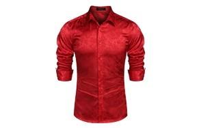 coofandy men's floral rose printed long sleeve dress shirts