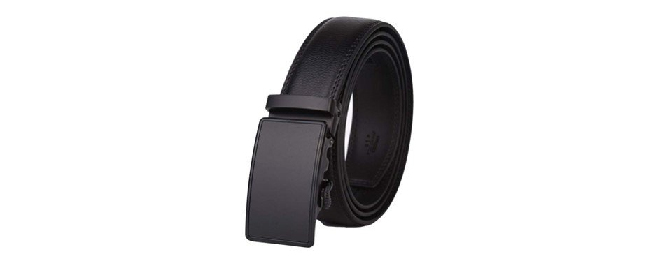 dante leather ratchet dress belt with automatic buckle