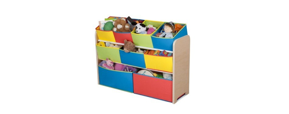 delta children deluxe multi-bin toy box with storage bins