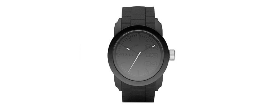 diesel men's dz1437 double down black silicone watch