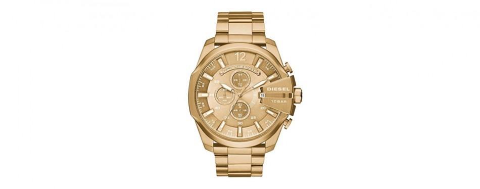 diesel men's mega chief quartz stainless steel chronograph watch