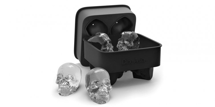 3) DineAsia 3D Skull Flexible Silicone Ice Cube Mold Tray