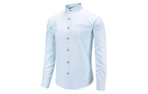 dioufond slim fit casual banded collar dress shirt