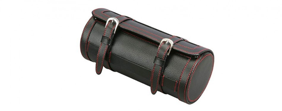 diplomat black leather travel watch roll
