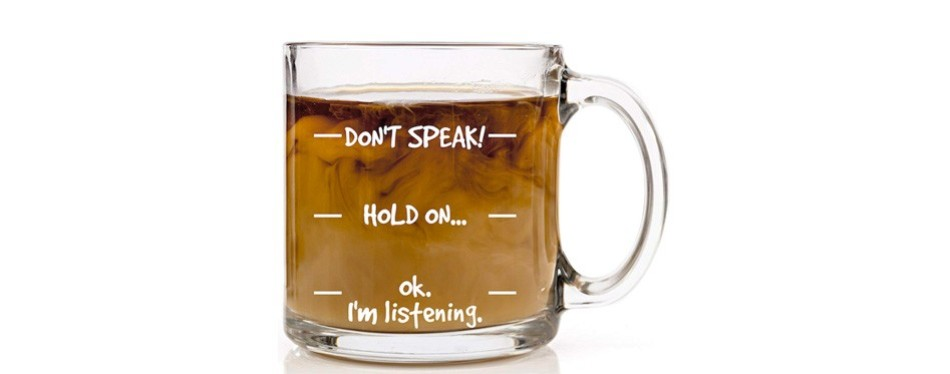 don't speak funny coffee mug