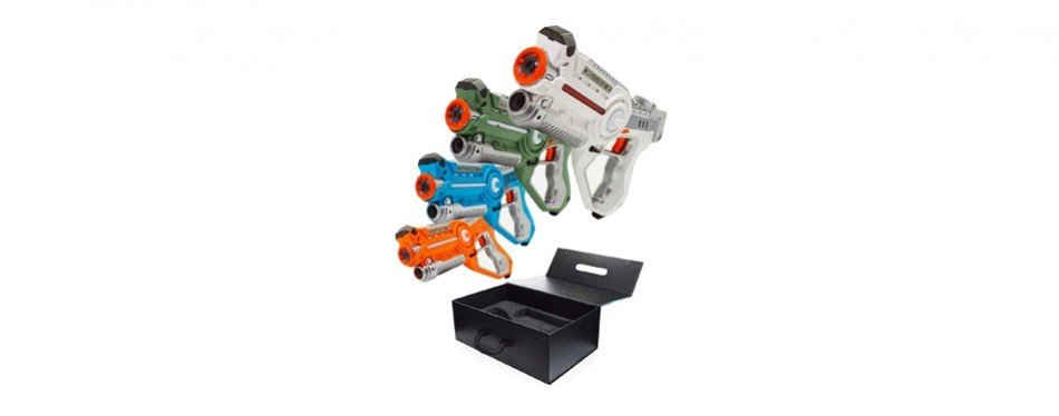 dynasty toys laser tag set and carrying case – multiplayer 4 pack