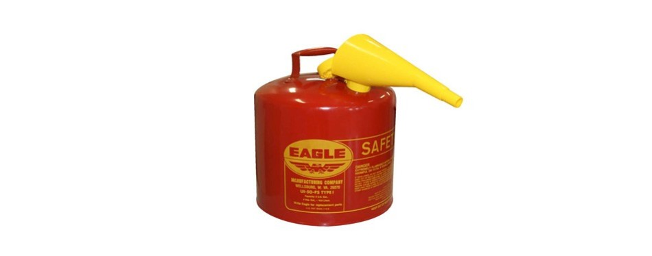 eagle ui-50-fs red galvanized steel type 1 gasoline safety can with funnel