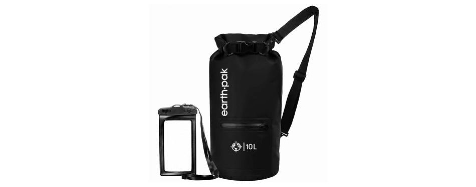 earth pak waterproof backpack with front zippered pocket