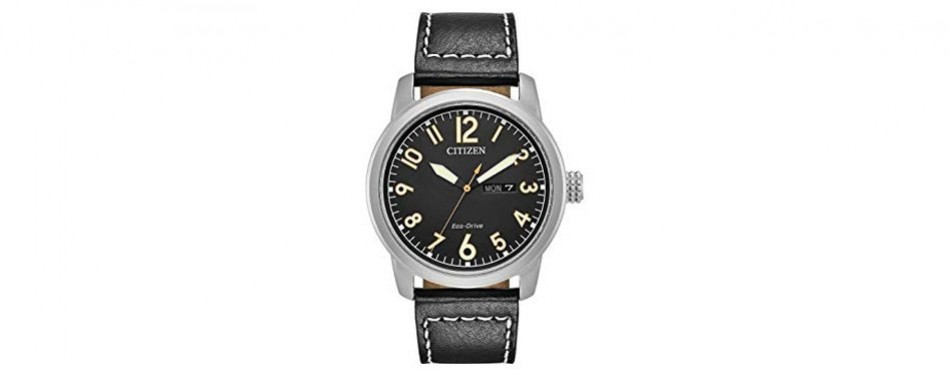 eco-drive military leather strap citizen watch