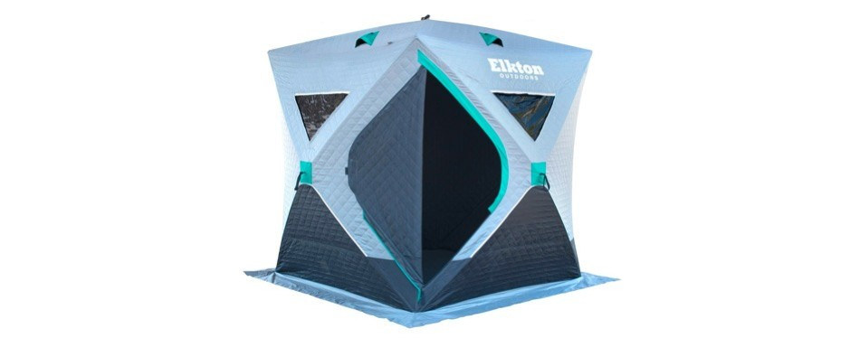 elkton outdoors insulated four-person ice fishing shelter