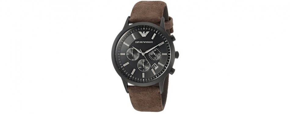 emporio armani men's leather watch