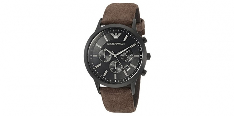 emporio armani mens leather watch