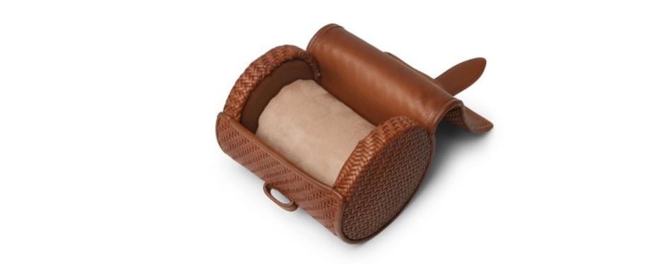 ermenegildo zegna pelle tessuta leather watch roll