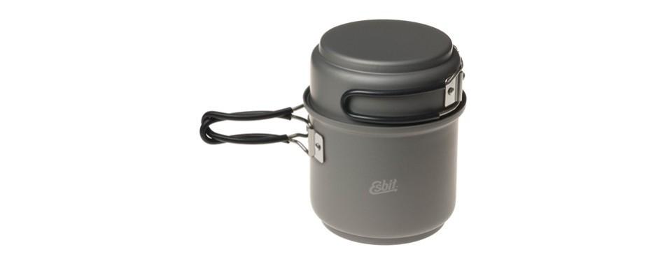 esbit 5-piece lightweight trekking cooking set w/ brass alchohol stove