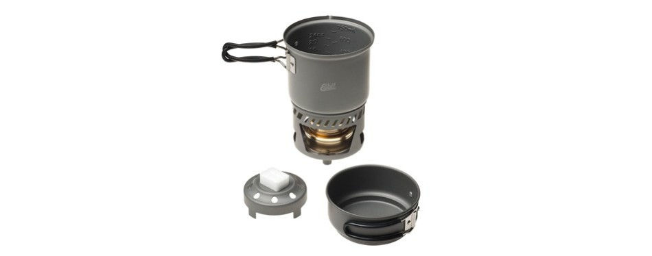 esbit 5-piece lightweight trekking cooking set w brass alcohol burner
