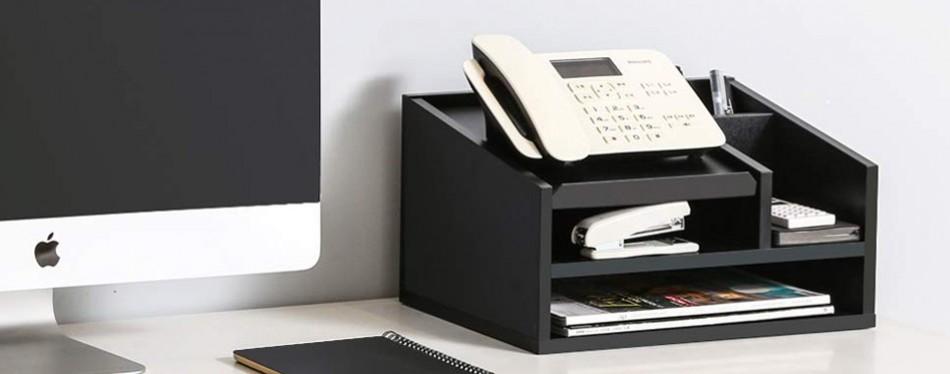fitueyes wood office supplies desk organizer