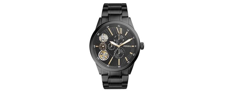flynn mechanical black-tone stainless steel watch