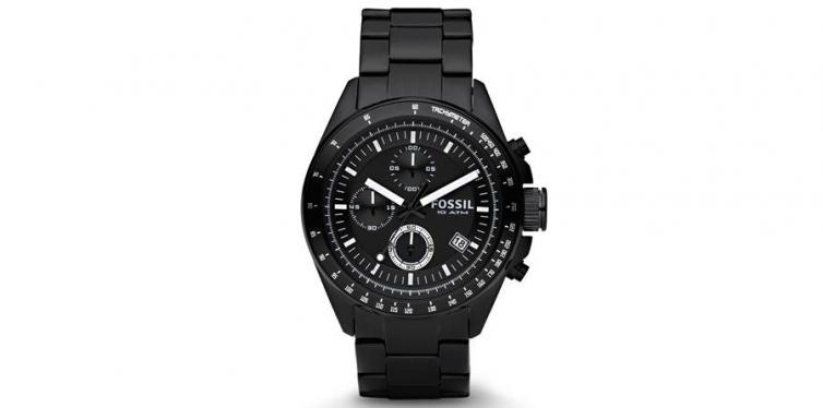 Fossil Men's Decker Black Stainless Steel Chronograph Watch