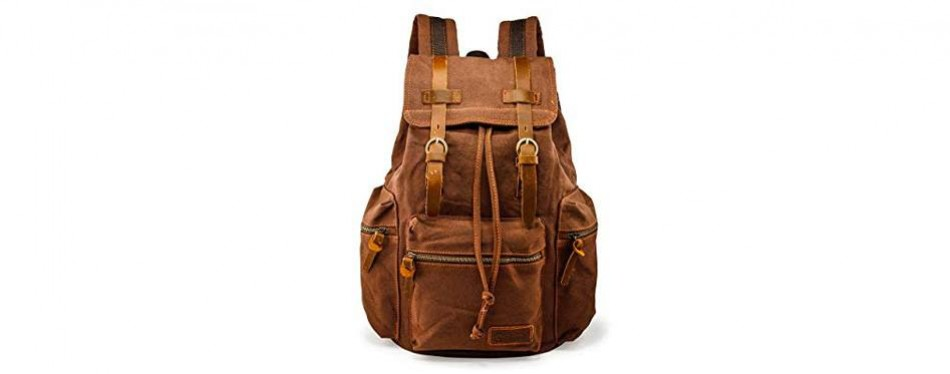 gearonic vintage canvas and leather backpack