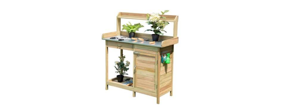 giantex outdoor wooden potting bench with metal tabletop