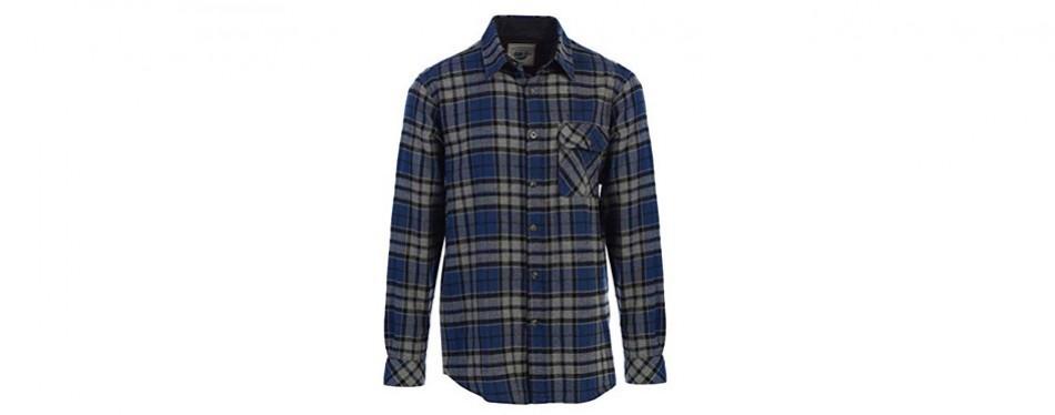 gioberti men's long sleeve flannel shirt with corduroy contrast