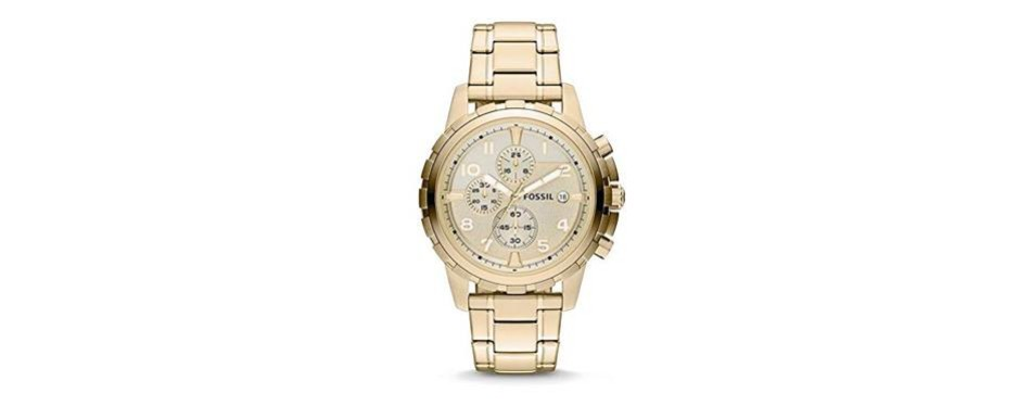 goldtone stainless steel watch