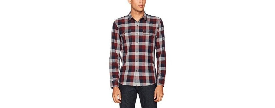 goodthreads men's slim-fit long-sleeve buffalo plaid herringbone shirt