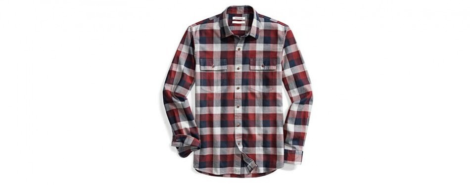 goodthreads men's slim-fit long-sleeve buffalo plaid herringbone shirt