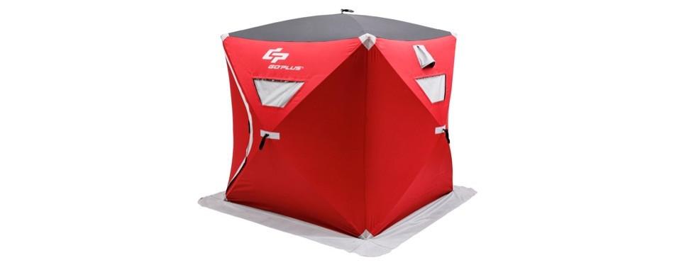 goplus portable pop-up ice fishing shelter