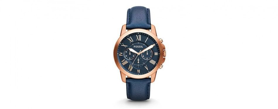 grant chronograph navy watch in rose gold