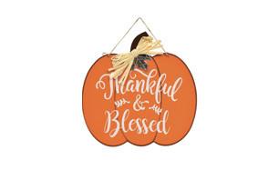 greenbrier international thankful & blessed pumpkin sign fall decor