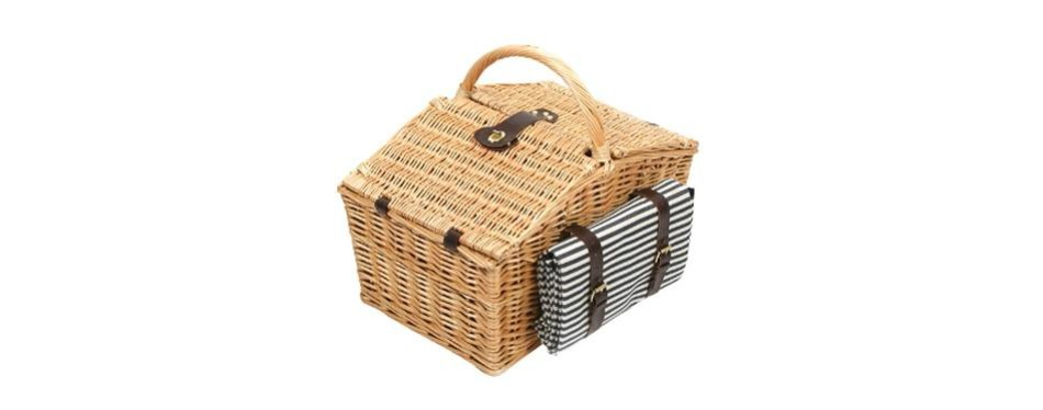 greenfield collection deluxe somerley willow 4 person picnic hamper