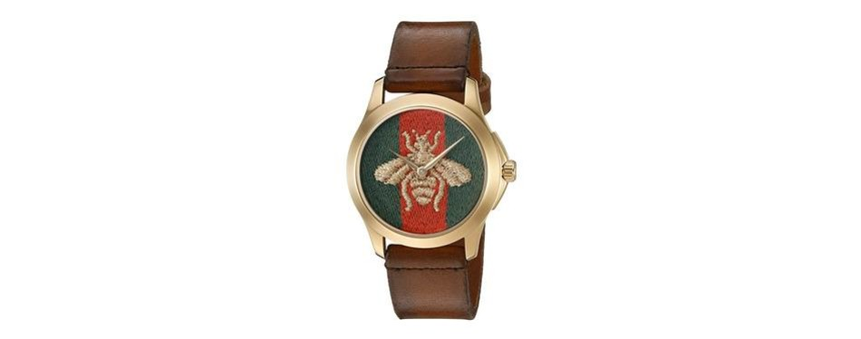 gucci g-timeless analog eta quartz brown leather watch
