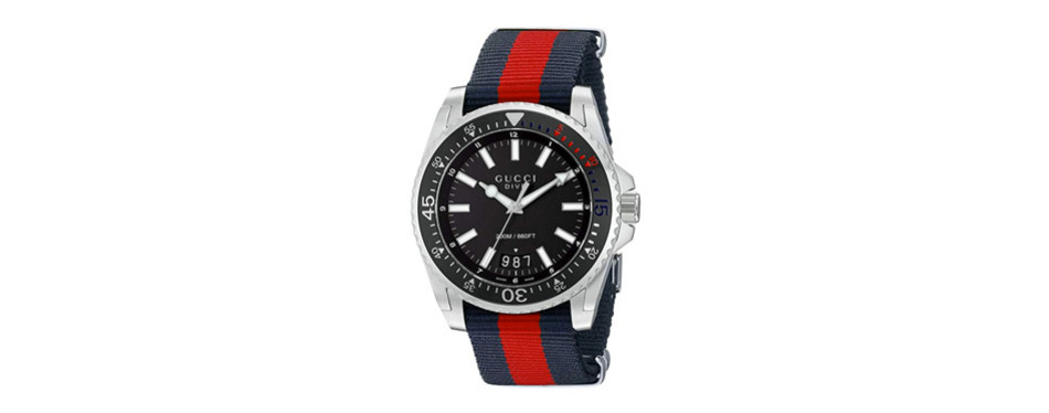 gucci men's stainless steel and nylon dive watch