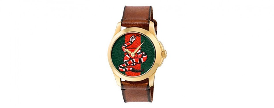 gucci quartz gold and leather casual men's watch