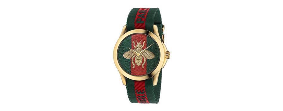gucci quartz gold and nylon watch