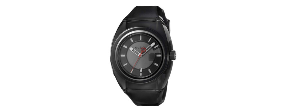 gucci quartz stainless steel and rubber men's watch